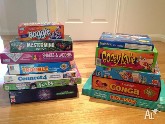 Various childrens' board games