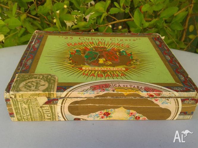 Vintage Cuban Cigar Wooden Box Ramon Allones Habana For Sale In