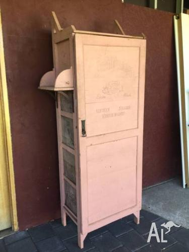Vintage cupboard made out of 5 Texaco oil wooden crates