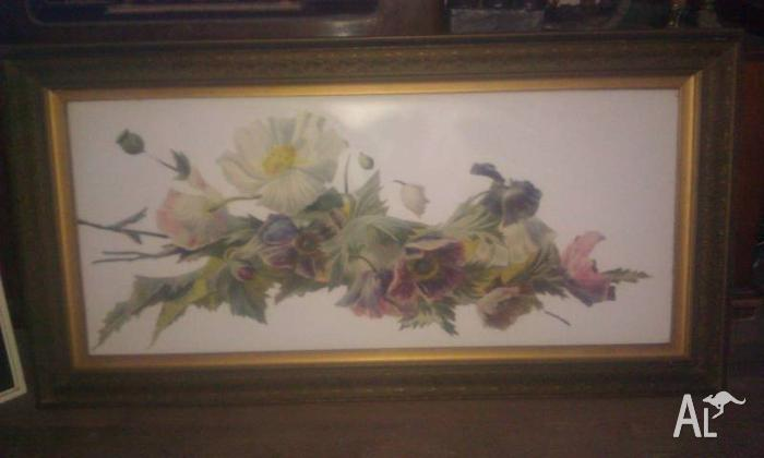 vintage original framed floral painting