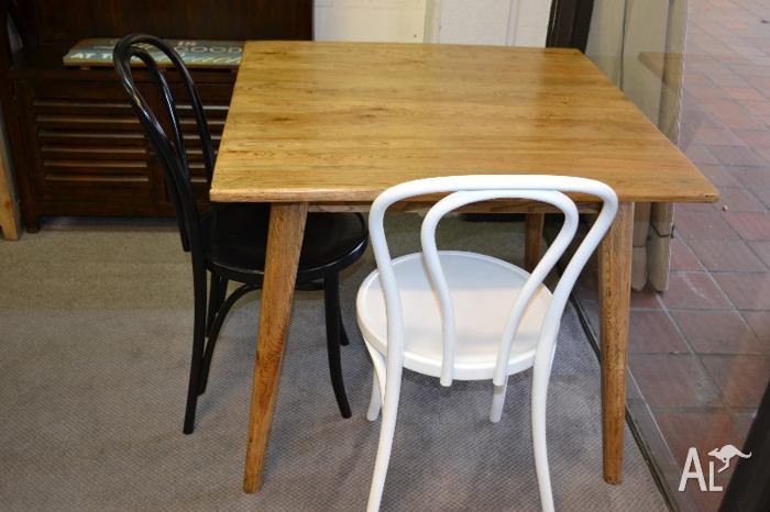 Vintage Retro Danish Solid Oak Timber Square Small Dining Table For Sale In B