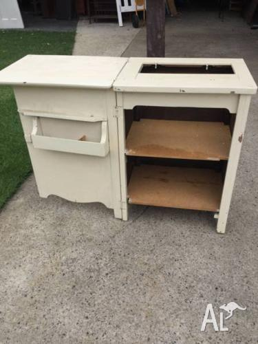 Vintage sewing machine cabinet Wooden frame with