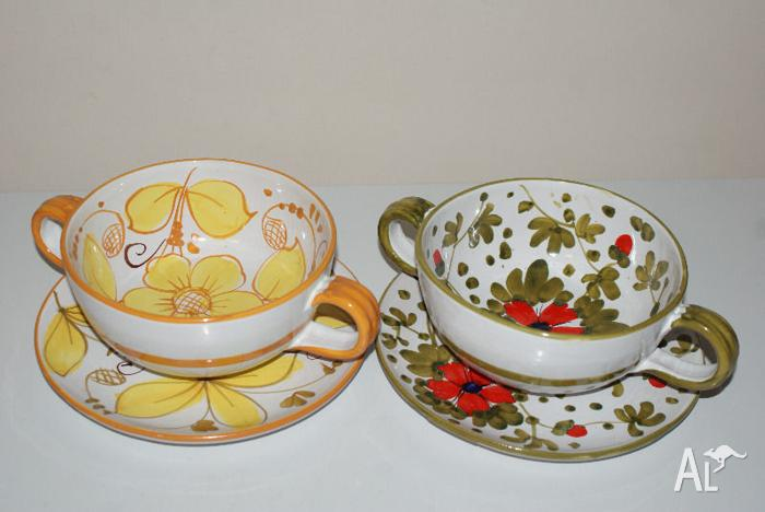 Vintage SOUP BOWLS PLATE HANDLES ITALIAN MADE hand painted for Sale ...