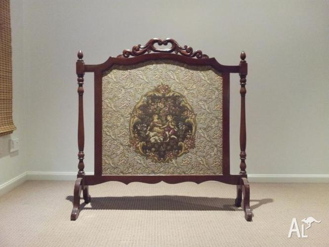 Vintage Timber Framed Tapestry Fire Screen