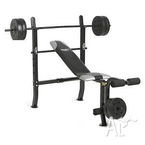WEIGHT BENCH,BARBELL and 36kg WEIGHTS