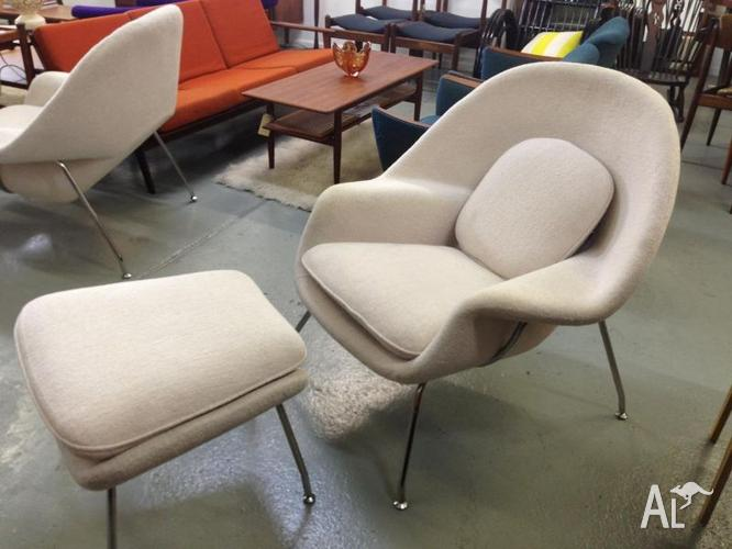 Womb chair replica retro includes footstool for sale in allambie heights new south wales - Vintage womb chair for sale ...