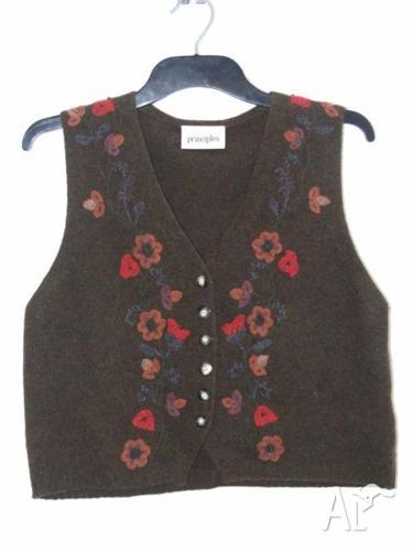 Wool buttoned vest top, colour moss, size 12