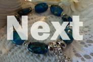 BRACELET BLUE EMPEROR STONE FLAT OVAL BEADS WITH SILVER