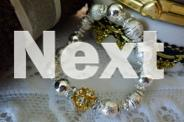 BRACELET SILVER DISCO BALL WITH GOLD CRYSTAL BALL