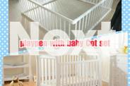 Brand New 2 in 1 Pine wood Playpen and Baby Cot Set