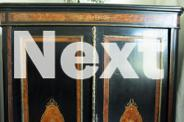 Victorian ebonised china cabinet with marquetry inlays