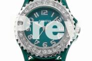 GENEVA BLACK OR GREEN WATCH WITH CRYSTALS