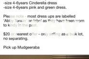 Girls dress ups - size 4-6yrs - $20
