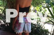 Girls soft Blue floral pom pom shorts