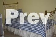 Single Wrought Iron Bed + Curtains + Bedding + Lamp