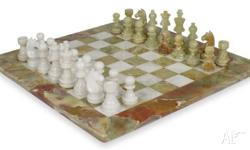 "Stunning 12"" x 12"" marble chess set delicately hand"