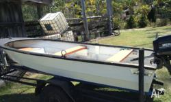 Fibreglass boat with small motor Good trailer, no rego