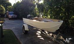 12ft seatrex tinny , with a 15hp mariner, tip trailer