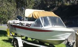 13 ft Savage aluminium boat on Brooker trailer with