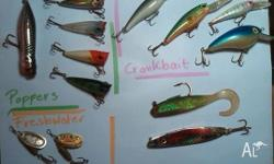 Various Fishing Lures. Soft Plastic, Hard Plastic,