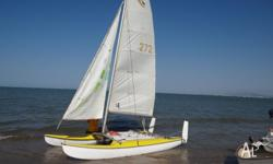 14ft catamaran repainted;new ropes; complete with
