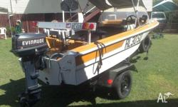 14 ft fibreglass soliid boat and trailer safety gear,