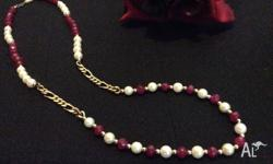 EXQUISITE 14k RED RUBY & PEARL NECKLACE (21.5�) This
