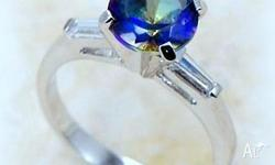 Sparkling faceted Blue Rainbow Mystic Topaz measuring