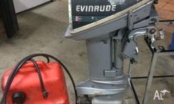 15hp evinrude, runs well, comes with fuel tank and fuel
