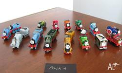 15 Diecast Metal Take along/take n play trains, 6 with