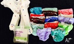 16 x cloth nappy shells - washed and unused in a range