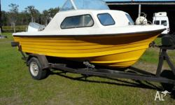 16ft Nautiglass brand fibre glass half cabin cruiser.