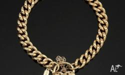 18 K FILLED GOLD GL WOMEN'S SOLID MEDIUM EURO BRACELET