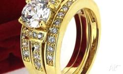 18K GP CUBIC ZIRCON ENGAGMENT WEDDING RINGS SET STYLE -