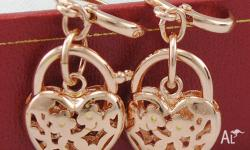 18K ROSE GOLD FILLED HOLLOW HEART PADLOCK EARRINGS