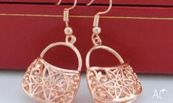 18K ROSE GOLD FILLED TRENDY DANGLE BAG EARRINGS APPROX