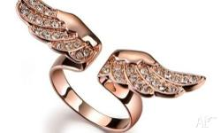 18K ROSE GOLD FILLED ANGEL WING CRYSTAL RING BAND SIZE: