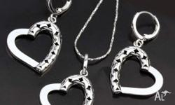 18K WHITE GOLD FILLED GF HEART NECKLACE AND EARRINGS