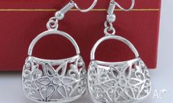 18K WHITE GOLD FILLED TRENDY DANGLE BAG EARRINGS APPROX
