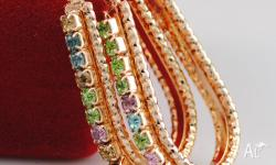 18K YELLOW GOLD FILLED COLORFUL AUSTRIAN CRYSTAL LADIES