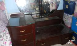 40s dresser with glass tops and shelf , lge round