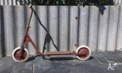 1950 - 1960 Metal Scooter on Rubber Tyres shows fair