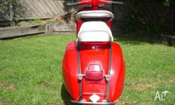 Bright red 1965 vespa,imported from bali,reconed in