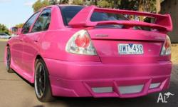 1998 Mitsubishi Lancer, custom pink paint, full body