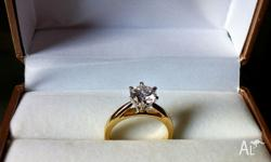 1 ct Engagement ring NEW yellow gold brilliant cut.