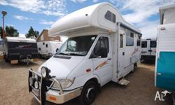 Mercedes motorhome with front double bed and rear