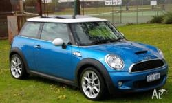 Funky, Cooper S in Electric Blue, white roof and