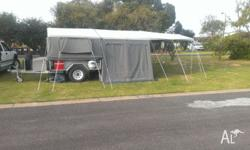 23x18ft tent,3 room,queen size bed,7x5 galv