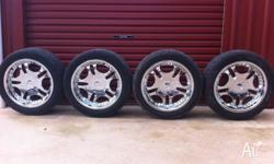 20 inch 6 stud multi fit wheels. Will suit any 4x4 with