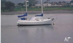 23ft Fibreglass Ketch canoe stern. Enclosed wheel